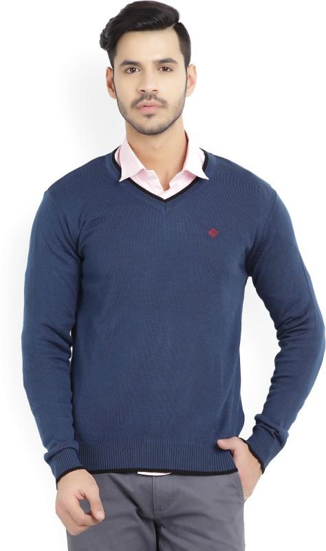 Numero Uno Solid V-neck Casual Mens Dark Blue Sweater