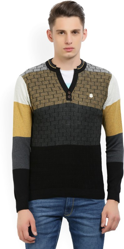 Fort Collins Self Design NA Casual Mens Black, Yellow, Grey Sweater