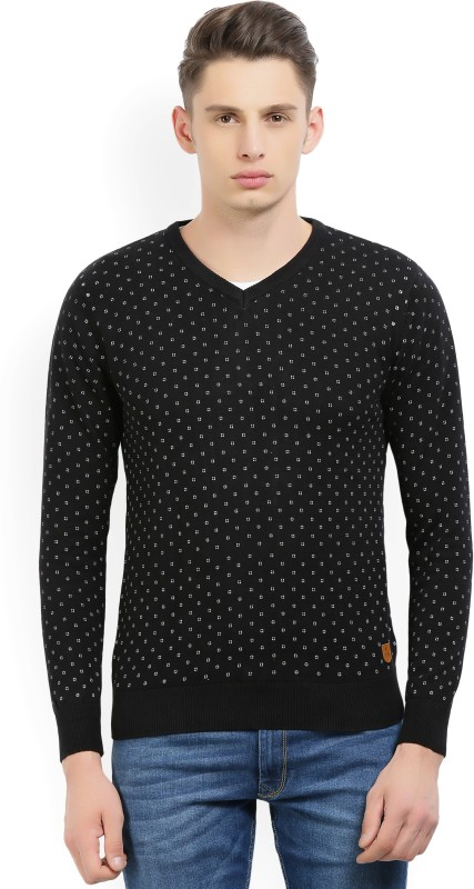 Fort Collins Printed V-neck Casual Mens Black Sweater