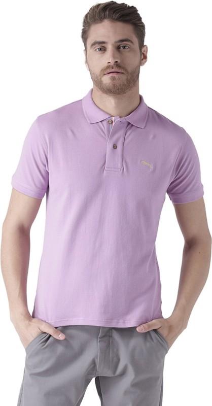JUMP USA Solid Men Polo Neck Purple T-Shirt