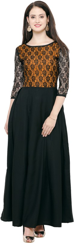 Indian Wear Online Festive & Party Solid Women's Kurti(Black)