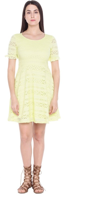 Honey By Pantaloons Women's Fit and Flare Yellow Dress