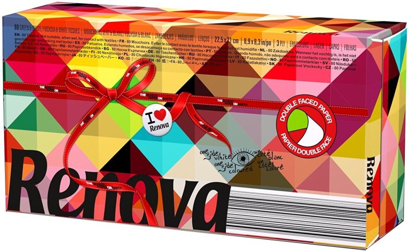Renova aper Facial Tissues Maxi 2 Colors (Alternative Red and Green) - 3 Ply , Double Faced Tissues With One Side White(Pack of 80)