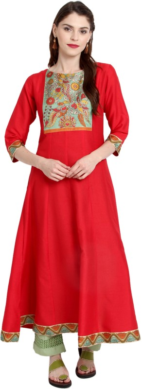 Janasya Festive & Party Solid Women's Kurti(Red)