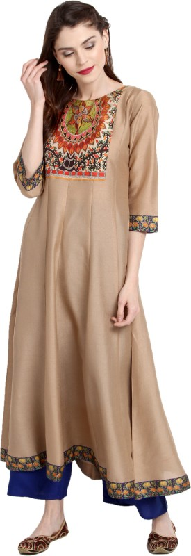 Janasya Festive & Party Solid Women's Kurti(Beige)