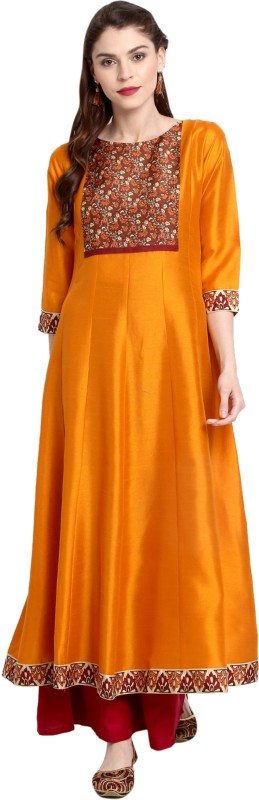 Janasya Festive & Party Solid Women's Kurti(Yellow)