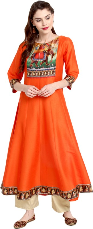Janasya Festive & Party Solid Women's Kurti(Orange)