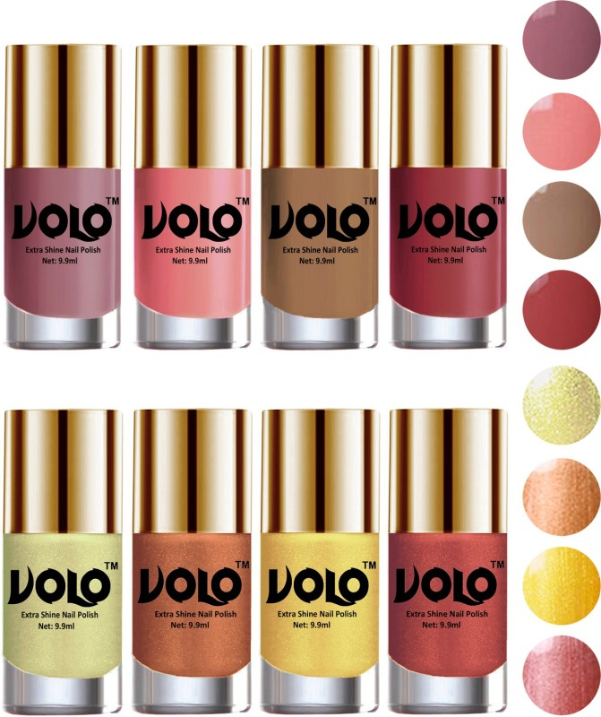 Volo High-Shine Long Lasting Non Toxic Professional Nail Polish Set of 8 Hot Lava, Chrome Olive Green, Tan, Bronze Magnetic, Dark Nude, Nudes Spring, Candy Cotton, Gold Chrome(Pack of 8)
