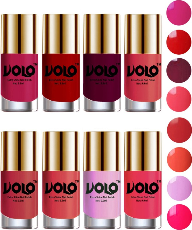 Volo High-Shine Long Lasting Non Toxic Professional Nail Polish Set of 8 Light Wine, Red, Coral Compass, Peach Crush, Passion Pink, Light Pink, Light Purple(Pack of 8)