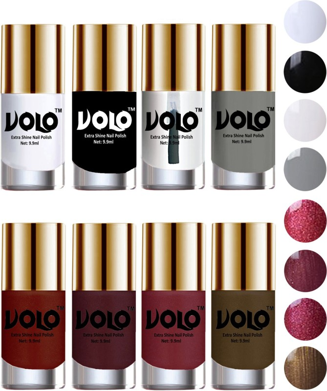 Volo High-Shine Long Lasting Non Toxic Professional Nail Polish Set of 8 Matte White, Extra Shine Top Coat, Gold, Metallic Coffee, Black, Lava Lust, Shimmer Coffee, Grey, Metallic Red(Pack of 8)
