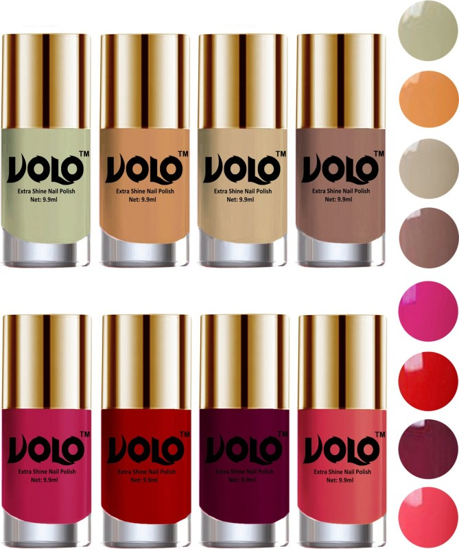 Volo High-Shine Long Lasting Non Toxic Professional Nail Polish Set of 8 Light Wine, Mischievous Mint, Red, Dark Nude, Nude, Flirty Nude, Passion Pink, Light Pink(Pack of 8)