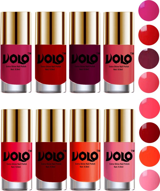 Volo High-Shine Long Lasting Non Toxic Professional Nail Polish Set of 8 Light Wine, Coral, Red, Passion Pink, Carrot Red, Light Pink(Pack of 8)