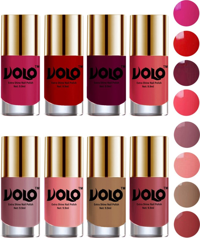 Volo High-Shine Long Lasting Non Toxic Professional Nail Polish Set of 8 Light Wine, Tan, Red, Dark Nude, Nudes Spring, Candy Cotton, Passion Pink, Light Pink(Pack of 8)