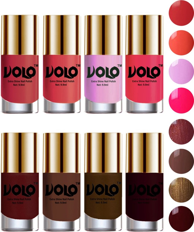 Volo High-Shine Long Lasting Non Toxic Professional Nail Polish Set of 8 Coral Compass, Maroon, Brown Coffee, Peach Crush, Passion Pink, Chocolate Brown, Metallic Maroon, Light Purple(Pack of 8)