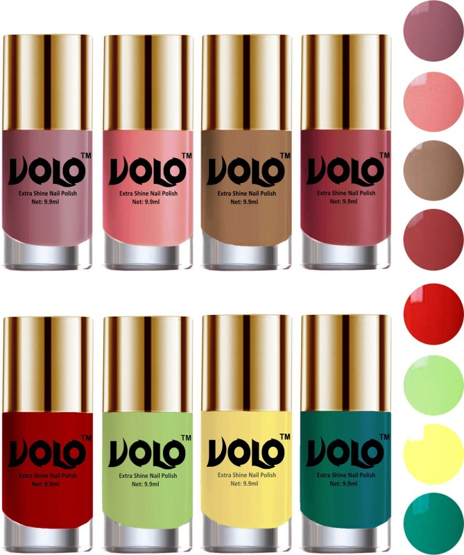 Volo High-Shine Long Lasting Non Toxic Professional Nail Polish Set of 8 Reddish Orange, Tan, Dark Nude, Nudes Spring, Candy Cotton, Yellow, Radium Green, Parrot Green(Pack of 8)