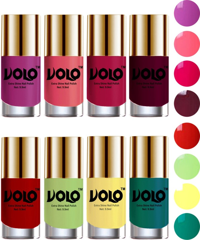 Volo High-Shine Long Lasting Non Toxic Professional Nail Polish Set of 8 Reddish Orange, Bright Plum, Moon Magenta, Wine, Yellow, Radium Green, Pink Mania, Parrot Green(Pack of 8)