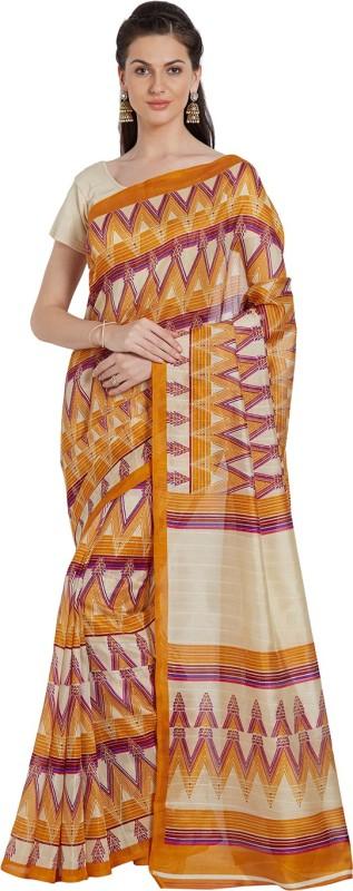 Livie Geometric Print Fashion Raw Silk Saree(Beige)