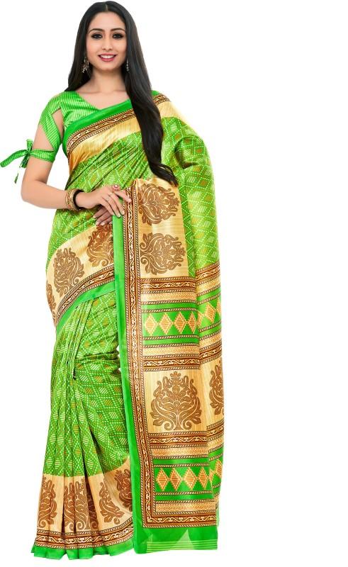 KUPINDA Printed Patola Art Silk Saree(Green)
