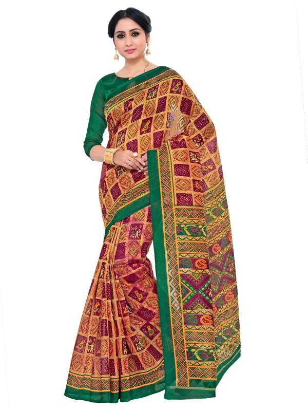 KUPINDA Printed Patola Art Silk Saree(Brown)