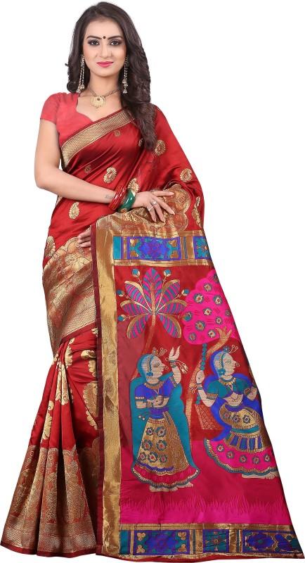 Jay Fashion Self Design Paithani Banarasi Silk, Art Silk Saree(Multicolor)