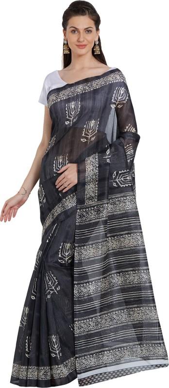 Livie Geometric Print Fashion Raw Silk Saree(Black)