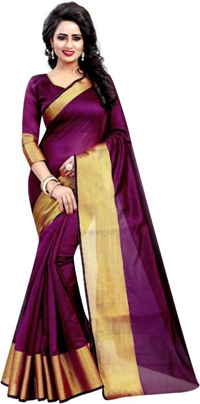 RadadiyaTRD Plain Daily Wear Cotton, Silk, Cotton Linen Blend, Banarasi Silk Saree(Magenta)