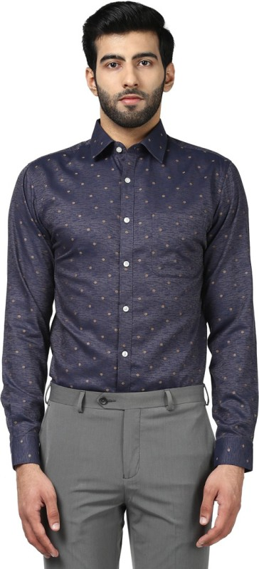Raymond Mens Self Design Formal Beige Shirt