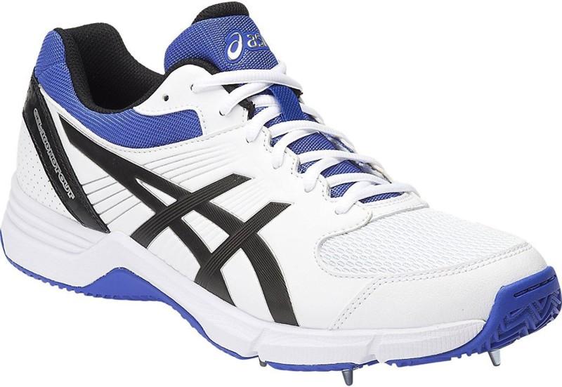 Asics Cricket Shoes For Men(White, Black, Blue)