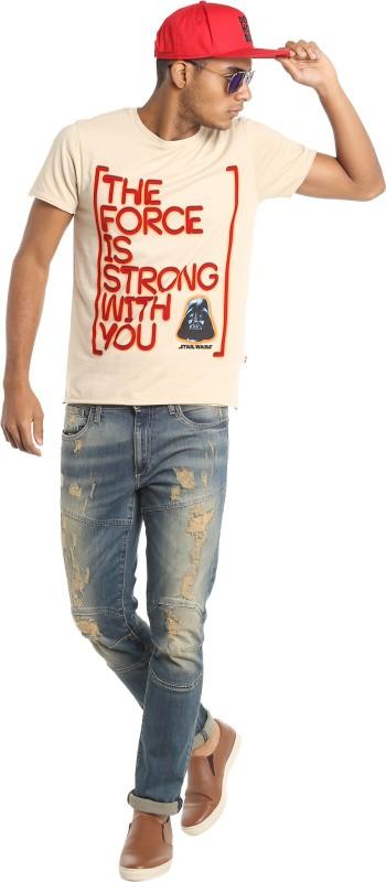 Jack & Jones Graphic Print Mens Round Neck Beige T-Shirt