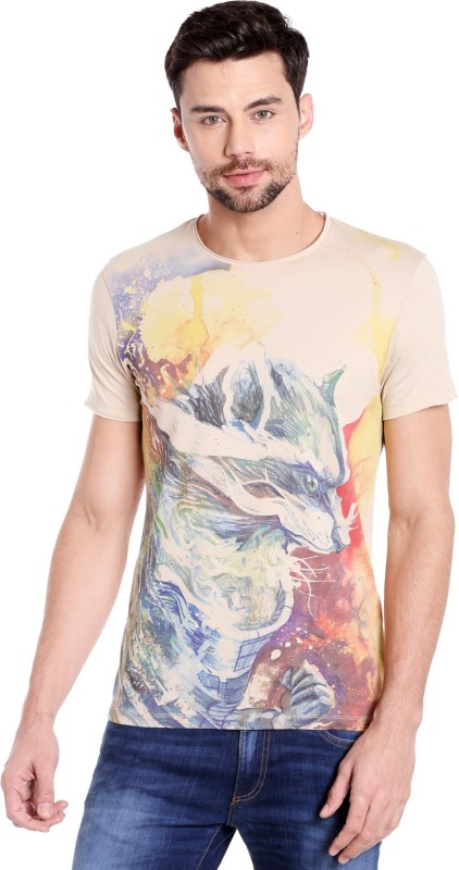 Jack & Jones Printed Mens Round Neck Beige T-Shirt