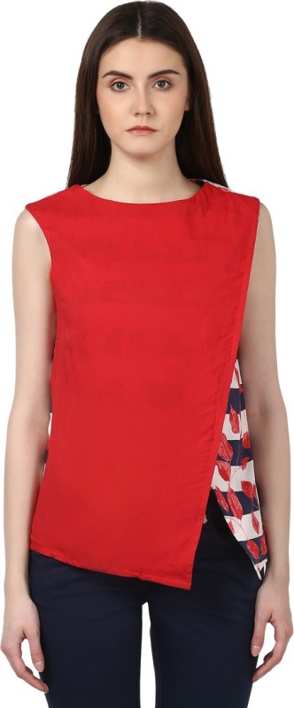 Park Avenue Casual Sleeveless Solid Women's Red Top