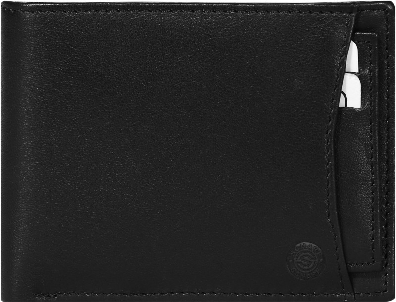 SCHARF Men Black Genuine Leather Wallet(10 Card Slots)