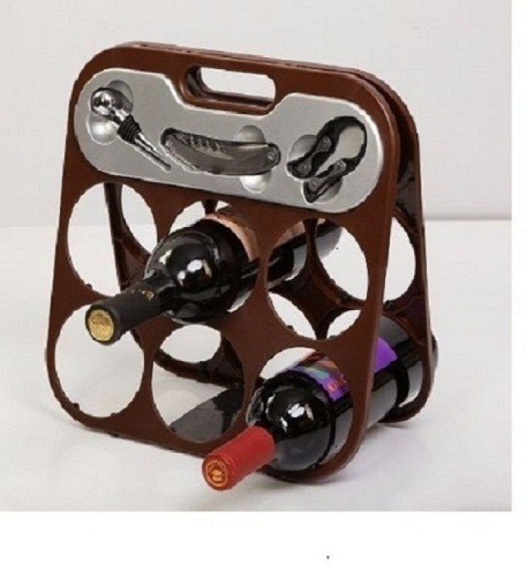 Dynore Wood Bottle Rack(Brown, 6 Bottles)