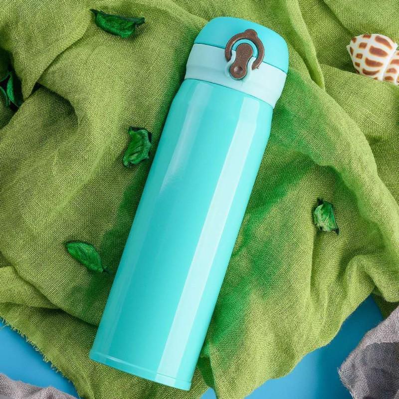 Aadhira Enterprises 500ml stainless steel vacuum flasks water bottle stainless steel Lock thermal insulation kettle (1 Bottle) For Kids,Teens,Travellers, Camping, Sports, Office Desk,School Kids Water Supply 500 ml Bottle(Pack of 1, Green)