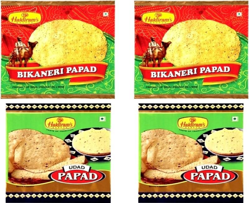 Haldiram's Udad Papad and Bikaneri Papad (Combo Pack) Masala Papad 800 g(Pack of 4)