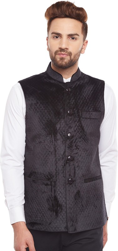 Hancock Sleeveless Self Design Mens Jacket