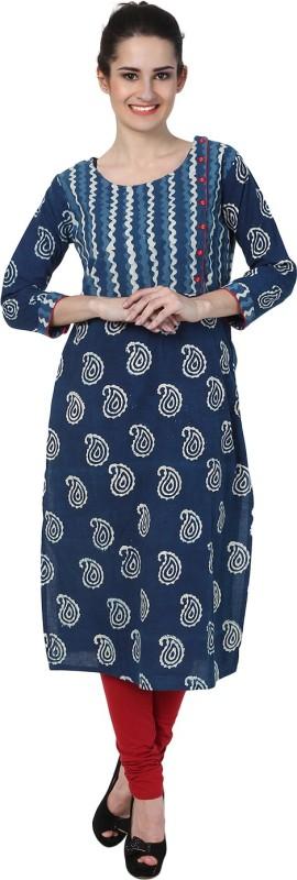 Mother Home Women Printed Straight Kurta(Blue)