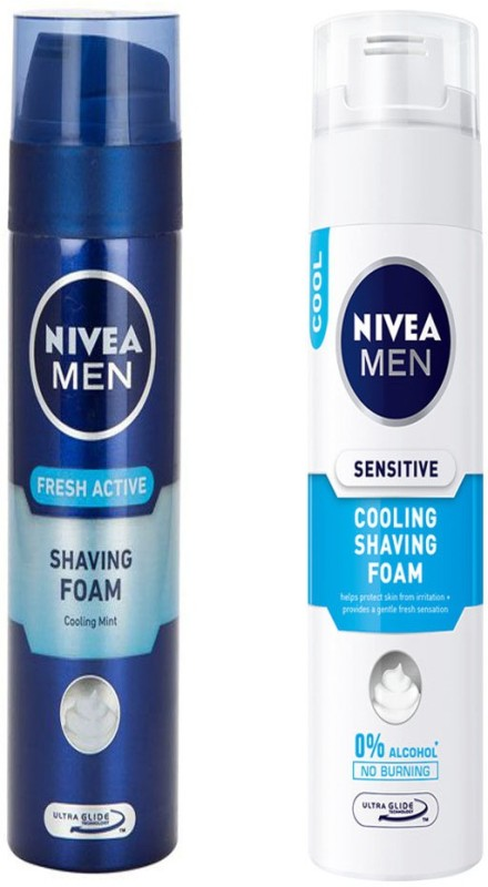 Nivea MEN SENSITIVE COOLING SHAVING FOAM 200 ML+MEN FRESH ACTIVE SHAVING FOAM 200 ML(200 ml)