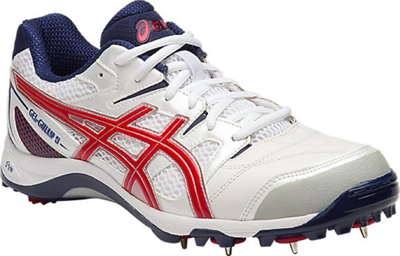 Asics Mens Gel-Gully 5 Cricket Spikes Cricket Shoes For Men(White, Red, Blue)
