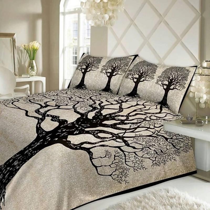 Jaipuri cotton 151 TC Cotton Double King 3D Printed Bedsheet(Pack of 1, Black)