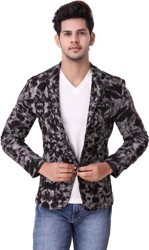 PLus91 Self Design Single Breasted Casual Men's Blazer(Black)