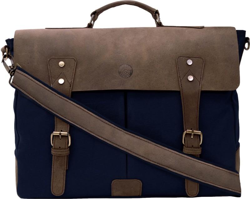 SCHARF Prince Bourne-Aisle Of Oppulence 16 Laptop Messenger Leather Canvas Shoulder Bag Medium Briefcase - For Men & Women(Navy Blue)