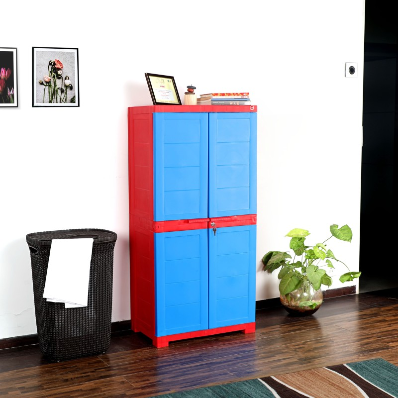 Cello Storage Cupboard Plastic Cupboard(Finish Color - Red & Blue)
