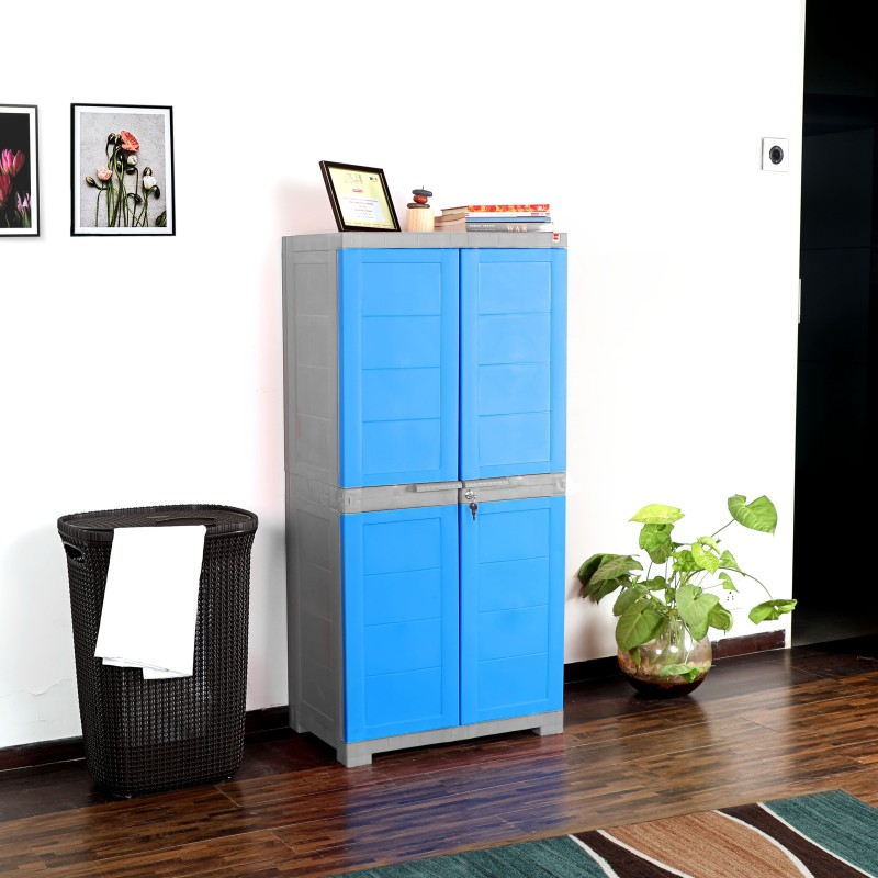 Cello Storage Cupboard Plastic Cupboard(Finish Color - Grey & Blue)