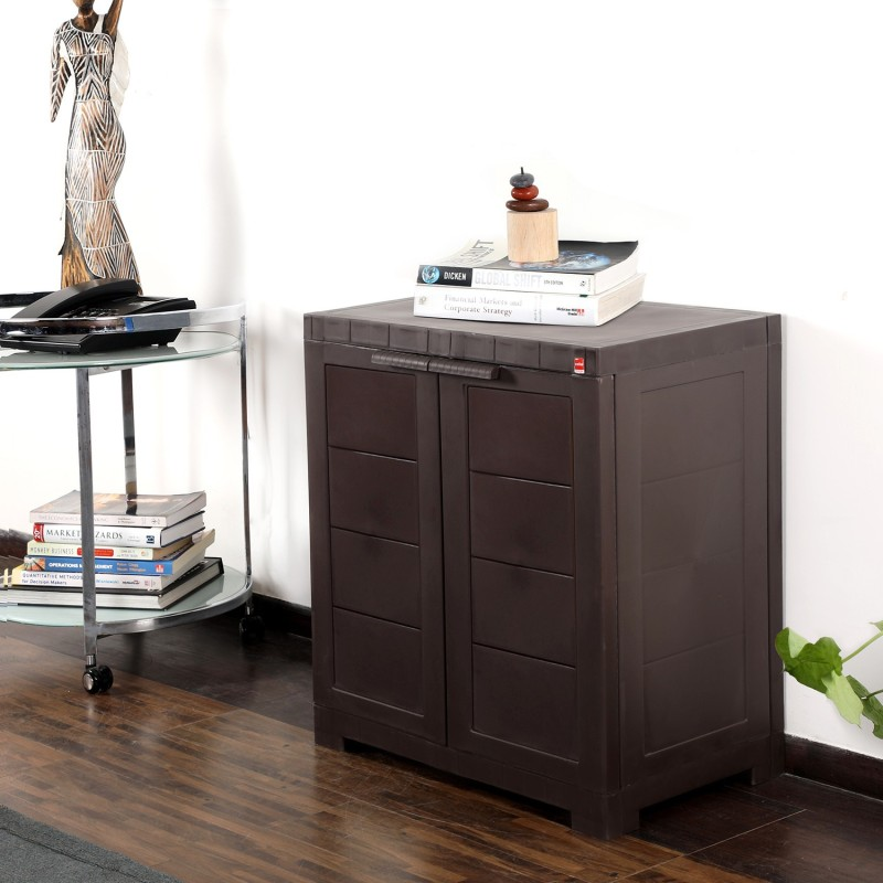 Cello Storage Cupboard Plastic Cupboard(Finish Color - Pearl Brown)