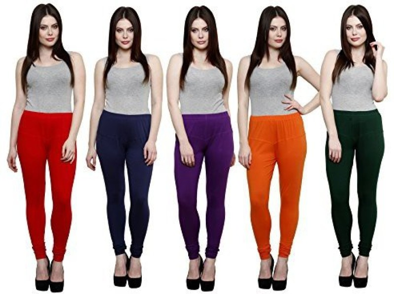 Elegant Shopping Churidar  Legging(Red, Dark Blue, Purple, Orange, Green, Solid)