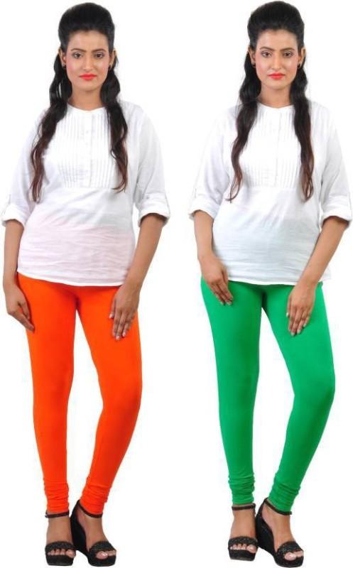 Elegant Shopping Churidar  Legging(Orange, Green, Solid)