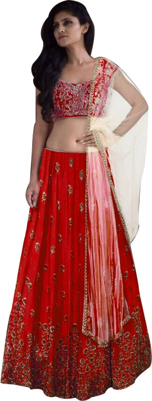 21st Fashion Embroidered Semi Stitched Lehenga Choli(Red)
