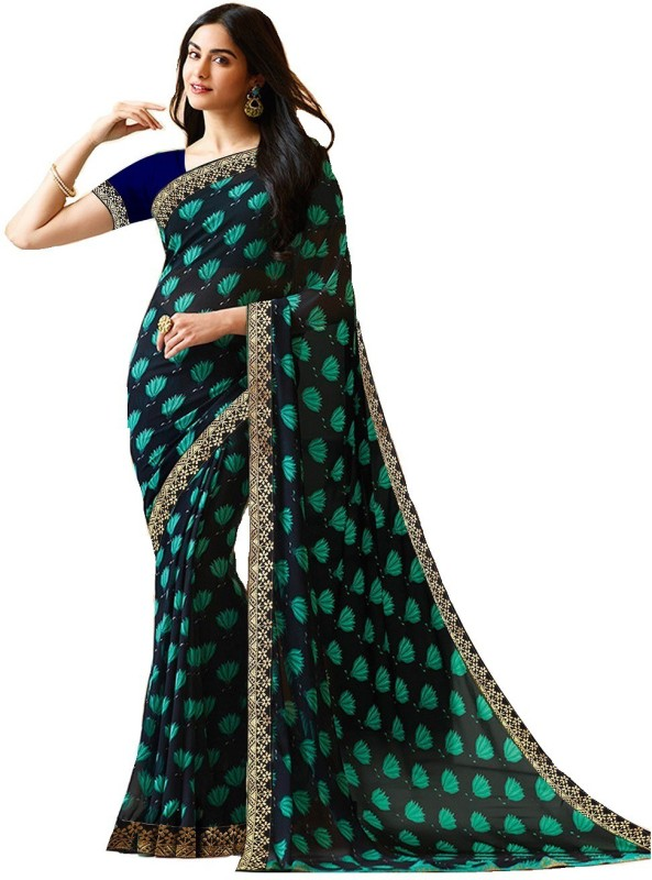 Shoppershopee Printed Daily Wear Faux Georgette, Synthetic Crepe Saree(Multicolor)