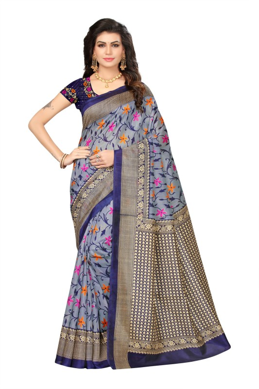 Livie Floral Print Fashion Raw Silk Saree(Blue)